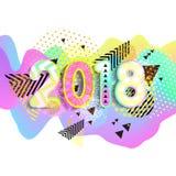 Ano novo 2018 Projeto colorido fundo 3d ondulado Vetor ilustração stock