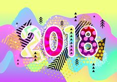 Ano novo 2018 Projeto colorido fundo 3d ondulado Vetor Fotos de Stock