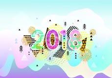 Ano novo 2018 Projeto colorido fundo 3d ondulado Vetor ilustração royalty free