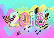 Ano novo 2018 Projeto colorido fundo 3d ondulado Vetor Imagens de Stock Royalty Free
