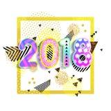 Ano novo 2018 Projeto colorido vetor do fundo 3D Efeito dinâmico do cartaz quadrado Imagens de Stock Royalty Free