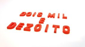 2018 Ano Novo Red 3D. SONY DSC - red plastic letters in 3 dimensions. Photographed in infinite background Royalty Free Stock Photos