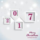 Ano novo roxo 2017 de cartão de Natal Fotografia de Stock
