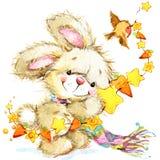 Ano novo Santa Bunny felicitações do fundo ilustração stock