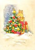Ano novo Santa Bunny felicitações do fundo Seri do Natal ilustração stock