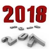 Ano novo 2018 sobre após uns - uma imagem 3d imagens de stock royalty free