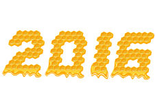 Ano novo 2016 Texto da pilha da abelha do mel Fotografia de Stock Royalty Free