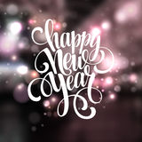 Ano novo, tipografia escrita à mão sobre borrado ilustração stock