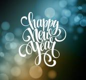 Ano novo, tipografia escrita à mão sobre borrado ilustração royalty free