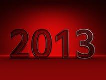 Ano novo vermelho 2013. Isolado no vermelho Fotos de Stock Royalty Free