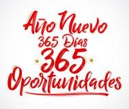Ano Nuevo 365 Dias, 365 Oportunidades, neues Jahr 365 Tage, spanischer Text von 365 Gelegenheiten vektor abbildung