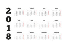 Ano simples do calendário 2018 no idioma alemão Fotos de Stock Royalty Free