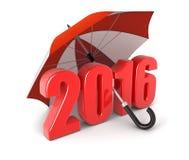 Ano 2016 sob o guarda-chuva (trajeto de grampeamento incluído) Foto de Stock