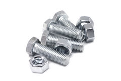 Anodized bolts and nuts Royalty Free Stock Photography