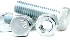 Anodized fasteners. On white background stock photo