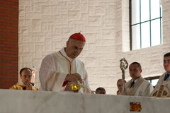 Anointing the altar. Stock Image