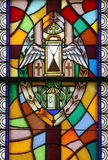 Anointing of the Sick, Seven Sacraments. Stained glass window Stock Photo