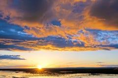 Anoitecer do lago Qinghai imagem de stock