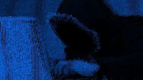Anonieme hakker in zwarte kap met laptop stock videobeelden