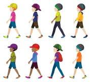 Anonieme jongens met hoofddeksels Stock Afbeelding