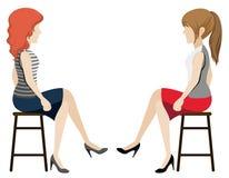 Anonieme meisjes die elkaar onder ogen zien royalty-vrije illustratie