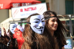 Anonimowa maska. Karnawał w Paphos. Fotografia Royalty Free