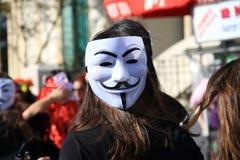 Anonimowa maska. Karnawał w Paphos. Obrazy Royalty Free
