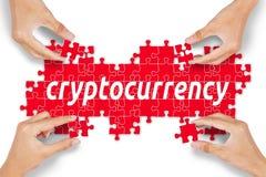 Anonimowi ludzie komponuje cryptocurrency słowo Fotografia Stock