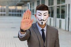 Anonimowy biznesmen protestuje z kopii przestrzenią zdjęcia stock