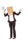 Anonimowy bizneswoman trzyma megafon obraz stock