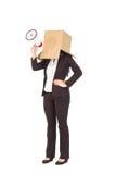 Anonimowy bizneswoman trzyma megafon zdjęcia stock