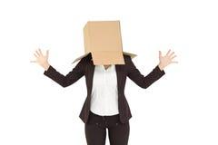 Anonimowy bizneswoman z ona ręki up fotografia stock