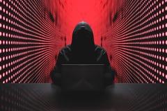 Anonimowy hacker przed jego komputerem obraz royalty free