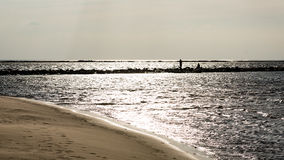 anonimowy osoby odprowadzenie na piasku przy wietrzną plażą zdjęcie stock