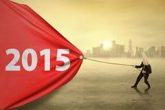 Anonimowy przedsiębiorcy ciągnięcie liczba 2015 Fotografia Stock