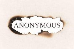 Anonimowy tekst na palącym papierze obraz stock