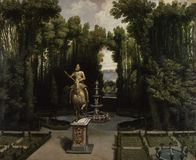 Anonimowy - Vista De Los Jardines De losu angeles Casa De Campo przeciwu losu angeles estatua De Felipe III, Ca 1634 zdjęcie stock