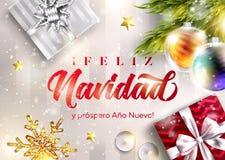 Anonuevo van Feliz navidad y prospero Vrolijke Kerstmis vector illustratie