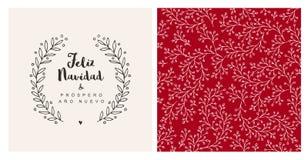 Anonuevo van Feliz navidad y prospero - vrolijke Kerstmis en gelukkig nieuw jaar Spaans Kerstmis Vectorkaart en Patroon royalty-vrije illustratie