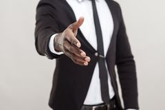 Free Anonym Afro Man Showing Hand At Camera And Need Handshake Royalty Free Stock Photo - 109860965