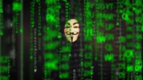 Anonym datoren hacker som bär den Guy Fawkes fejdmaskeringen lager videofilmer