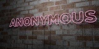 ANONYM - Glühende Leuchtreklame auf Steinmetzarbeitwand - 3D übertrug freie Illustration der Abgabe auf Lager stock abbildung
