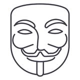 Anonym, Maskenkarneval, Hackervektorlinie Ikone, Zeichen, Illustration auf Hintergrund, editable Anschläge lizenzfreie abbildung