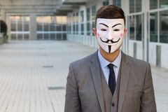 Anonym rebell med kopieringsutrymme arkivbild