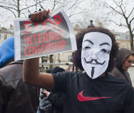 Anonyme Demonstration gegen Internet ACTA Lizenzfreie Stockfotografie