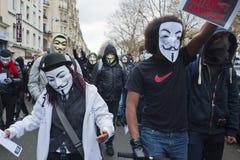 Anonyme Demonstration gegen Internet ACTA Lizenzfreies Stockbild