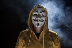 Anonymous activist hacker with mask studio shot Royalty Free Stock Photos