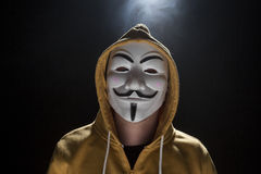 Anonymous activist hacker with mask studio shot Stock Image