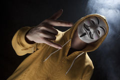 Anonymous activist hacker with mask studio shot Royalty Free Stock Photography