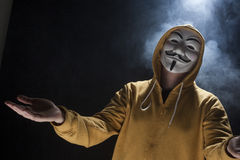 Anonymous activist hacker with mask studio shot. On black royalty free stock images